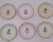 Rare Vintage Factory Decorated Tressemannes and Vogt T & V Limoges France Set of 6 French Lady Courtiers Butter Pat Salt Cellars Miniatures