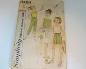 Vintage 1950s Simplicity #3494 Girl's Short Skirt Top and Pant Sewing Pattern - Size 7 - Cut but Complete