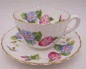 1950s Vintage Radfords English Bone China Pink and Blue Morning Glories Teacup and Saucer set Charming English Tea Cup 8373A