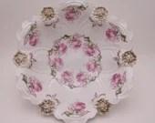 Large 1890s Antique Vintage Pink Rose MZ Austria Fruit Bowl - Fabulous