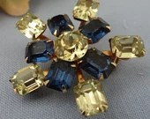 Vintage Blue and Pale Yellow Rhinestone Brooch - Classic and Elegant Style