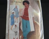 Simplicity #6846 Ali MacGraw Size 12 Button Up for Long Tunic Shirt and Pant Pattern Uncut Unused Sewing Pattern in 4 Styles