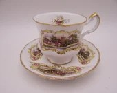 """Vintage Paragon English Bone China """"Chippendale"""" Castle Scene Teacup and Saucer Set Pretty English Tea Cup"""