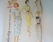 Vintage 1950s Simplicity #2453 Square Neckline Dress Sewing Pattern Size 14 - CUT but COMPLETE - Classic Mid Century Modern Style