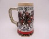 """1988 Budweiser Holiday Beer Stein """"Cobblestone Passage"""" Clydesdales CS88 Man Cave Beer Stein"""
