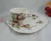 """1970s Johnson Bros England Staffordshire """"Harvest Time"""" Snack Plate and Cup Set - 3 available"""