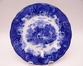 """c1900 Vintage Book Listed English Bone China Flow Blue """"Country Scenes"""" Luncheon or Salad Plate"""