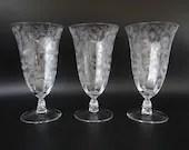 "Set of 3 Gorgeous Vintage Cambridge Roselyn Crystal Etched Iced Tea Glass 1950s Elegant Mid Century Modern 6.5"" Ice Tea Crystal Goblet Glass"