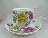 1950s Vintage Hand Painted English Royal Albert Teacup and Saucer Set Flower of the Month Chrysanthemum Tea Cup 2 Available