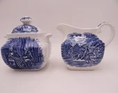Vintage Staffordshire Liberty Blue Historic Colonial Scenes Paul Revere Betsy Ross Creamer and Sugar Bowl Set