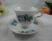 Vintage Queen Anne English Bone China Blue Morning Glory Teacup English Teacup Pattern 8565 Tea Cup