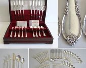 1940s Rogers Bros Remembrance Service for 8 Flatware in Box 6 Piece Place Setting with Shrimp Cocktail Forks and Papers and Box - 49 Pieces