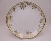 Great Condition - 1910s Vintage Hand Painted Nippon Handled Gold Moriage Serving or Cake Plate