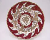 c1891 to 1911 Antique Hand Painted Nippon Gold Encrusted and Beaded Morriage Maroon and Gold Cabinet Plate