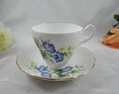 Vintage Royal Ascot Blue Flower English Bone China Teacup and Saucer Set English Tea cup