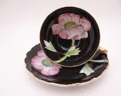 Stunning 1950s Hand Painted Napsco Delcoronado Black and Gold Pink Orchid Teacup and Saucer Set - Outstanding Tea Cup