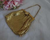 Vintage Signed Whiting and Davis Gold Mesh Purse - Lovely