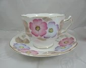 Mid Century Hand Painted Royal Swansea English Bone China Teacup Footed English Teacup and Saucer  Tea Cup  3 Available