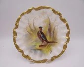 c1890s Hand Painted Factory Decorated Coiffe Lewis Strauss Limoges France Game Bird Cabinet Plate - Simply Incredible