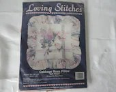 Cabbage Rose Pillow by Loving Stitches Counted Cross Stitch Kit Designed by Diana Prain for Karen's Kreations a 14 x 14 Pillow Kit