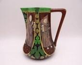 "Antique English Bone China Frederick Rhead Wileman Foley Shelley ""Intarsio"" Beer Ale Pitcher Monks 3154"
