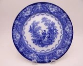 """1891 to 1901 Antique Royal Doulton English Bone China Flow Blue and White """"Watteau"""" Salad or Luncheon Plate"""