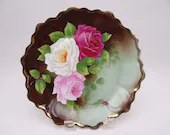 "Stunning Vintage Royal Vienna Factory Decorated Hand Painted Artist Signed ""Toussaint""  Rose Cabinet Plate"