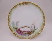 1890s Vintage T&V Tressemann and Vogt Limoges France Hand Painted Ocean Scene Oyster Cabinet Plate