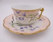 c1900s Spectacular Factory Decorated Hand Painted Bawo Dotter Elite Limoges Tea Cup and Saucer Set  French Teacup - E4