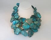 Vintage Turquoise Blue Bead Hand Knotted Chunky Necklace
