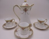 Antique Hand Painted Nippon Beaded Moriage  Chocolate Coffee Tea Set  - Charming