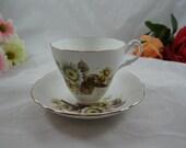 Vintage Royal Ascot Wildflower English Bone China Fall Autumn Teacup and Saucer Set Nice English Tea Cup