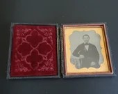 Antique Daguerreotype or Ambrotype Photograph of Man in a Suit with Cravat in Frame ca 1830s to 1860s