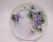 Vintage Thomas Sevres Hand Painted Violet Floral Small Plate Lovely