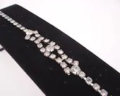 Vintage Faceted Rhinestone Bracelet - Bridal Prom Cotillion Special Occasion Jewelry