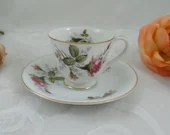 Mid Century 1950s Vintage Pink Rose Demitasse Espresso Cappuccino Teacup and Saucer Tea Cup  6 available