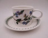 """Vintage 1970s Portmeirion Botanic Garden Flat Teacup and Saucer Set """"Speedwell"""" Made in England Tea Cup 2 Available"""