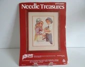 "Needle Treasures Stitchery Kit - Spring and Lance by Jan Hagara - 10"" by 14"" - Girl with Doll - Boy with Flowers - Gatsy Clothing"