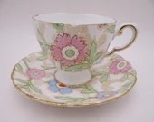 1950s Hand Painted Tuscan English Bone China Teacup and Saucer Set with Enamel Accents Stunning English Tea Cup 8277