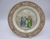 """Vintage Adams Potteries English Bone China """"Illustrations of Shakespeare - Merchant of Venice - Shylock and Tubal""""  Dinner Plate"""