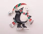 Cute Vintage Black Penguin Brooch Pin with Red and Gren Scarf and Hat with White Tummy - Wonderful Winter or Christmas Holiday Brooch