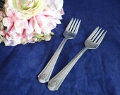 Antique Vintage 1938 Jean Marie Spartan Silverplate Salad Forks by Brooklawn Plate - 75 Years Old