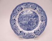 "Vintage Meakin Royal Staffordshire Blue and White ""Stratford Stage"" Dessert Pie Plate"