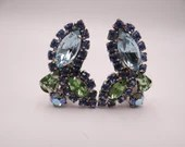 Stunning Weiss Blue and Green Clip Earrings on a Silver Tone Setting  Mint Condition - Vintage Earrings - Gift for Her - Vintage Jewelry