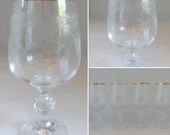 Import Associates Cascade Etched Crystal Gold Rim Wine Water Glasses is Elegant Stemware for your Table or Bar - You Choose 2 or 4 Glasses
