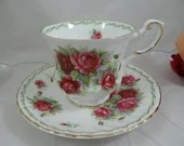 """1960s Vintage English Queen Anne Bone China Special Flowers  """"Rose""""  Footed Teacup and Saucer Set Fantastic Tea Cup"""