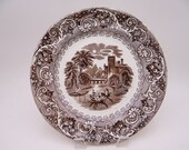 c1750 to 1850 Antique English Bone China Canal Scene Early Transferware Plate