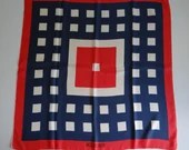 "Lovely Vintage Miss Balmain Paris Red White and Blue Geometric Pattern Scarf 28"" by 30"""