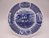"Vintage Fair Winds Historical Scenes ""The Friendship of Salem"" Blue and White Commemorative Plate"