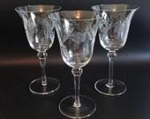 Set of 3 Pretty Vintage Colony Danube Cut Glass Wine Goblets Water Goblets Glasses an Elegant Barware Set - Floral and Leaf Design